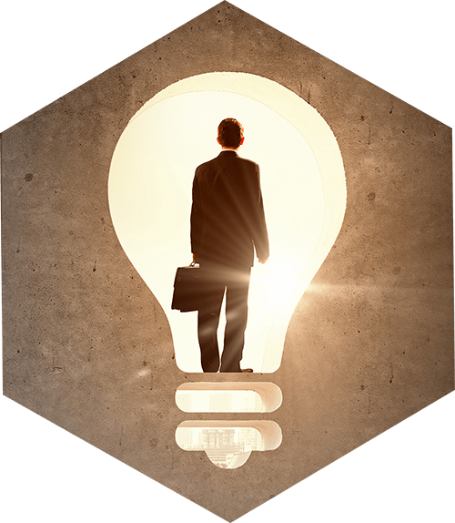 Business person inside an incandescent lamp
