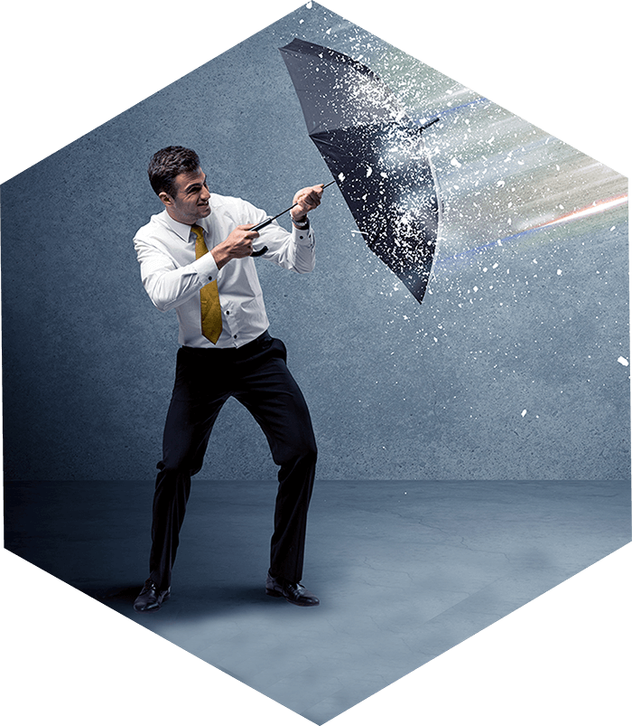 Man with an umbrella blocking some kind of splash
